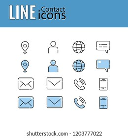 Line Icons Set - contact us