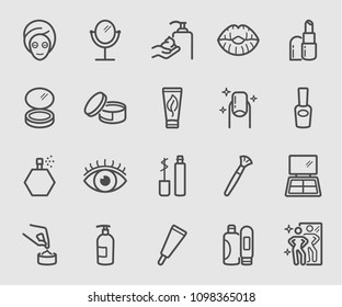 Line icons set for Cosmetic, Beauty