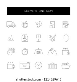 Line icons set. Delivery pack. Vector illustration
