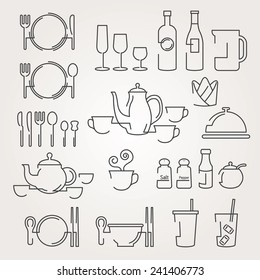 Line Icons Set : Dinner Restaurant and Eating