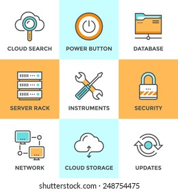 Line icons set with flat design elements of cloud computing communication technology, internet hosting service, network folder sharing, technical tools. Modern vector pictogram collection concept.