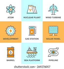 Line icons set with flat design elements of global energy development, nuclear power plant, wind turbine, oil barrel, solar panel, pipeline transport. Modern vector logo pictogram collection concept.