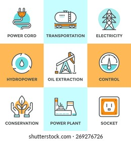 Line icons set with flat design elements of power plant, hydropower energy, oil extraction and transportation, electricity tower, ecology conservation. Modern vector logo pictogram collection concept.