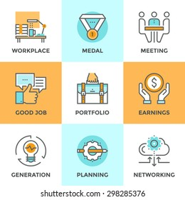 Line icons set with flat design elements of business people lifestyle routine, various office daily task, manager job planning and employee work activity. Modern vector pictogram collection concept.