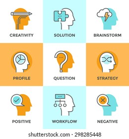 Line icons set with flat design element of human positive and negative emotions, brain creativity workflow, jigsaw puzzle solution, mind power and strategy. Modern vector pictogram collection concept.