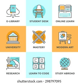 Line icons set with flat design elements of learning skill, education mastery, university building, learn to code, classroom with student desk, study abroad. Modern vector pictogram collection concept
