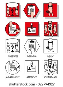 Line icons set with flat design elements of business people of the agreements and meetings. Modern vector pictogram collection concept. Set 04