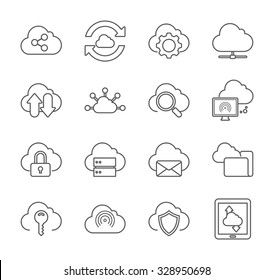 Line icons set with flat design of cloud computing