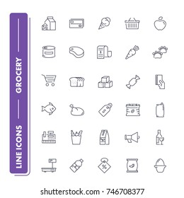 Line icons set. Grocery pack. Vector illustration for food and product store
