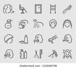 Line icons set for Hair Salon