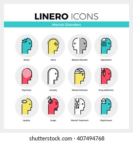 Line icons set of human mental disorders, personal emotions. Modern color flat design pictogram collection. Outline vector concept of mono stroke symbol pack. Premium quality web graphics material.