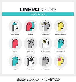 Line icons set of human mental activity and brain process. Modern color flat design linear pictogram collection. Outline vector concept of mono stroke symbol pack Premium quality web graphics material