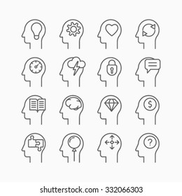 Line icons set of human mind process, people thinking, brain, mental health.