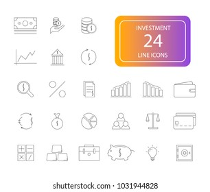 Line icons set. Investment pack. Vector illustration
