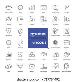Line icons set. Investment pack. Vector illustration.