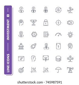 Line icons set. Investment pack 2. Vector illustration for increase money