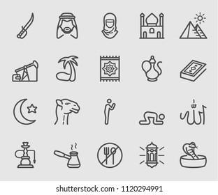 Line icons set for Islamic, Ramadan, Arabian Religions