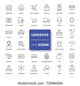 Line icons set. Logistics pack. Vector illustration.