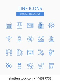 Line icons set of MEDICAL TREATMENT pictogram symbol collection