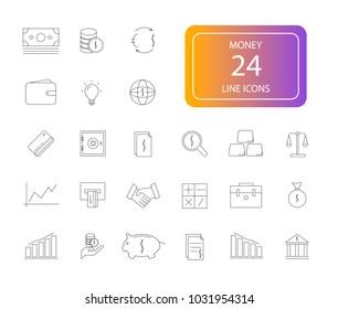 Line icons set. Money pack. Vector illustration
