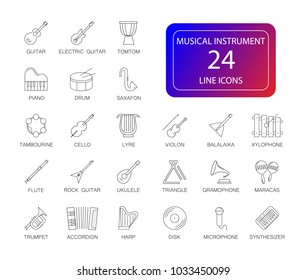 Line icons set. Musical instrument pack. Vector illustration