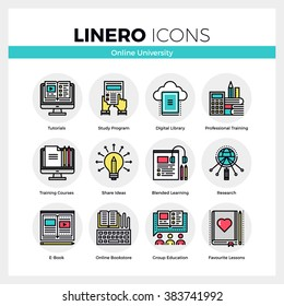 Line icons set of online university learning, group study. Modern color flat design linear pictogram collection. Outline vector concept of stroke symbol pack. Premium quality web graphics material.