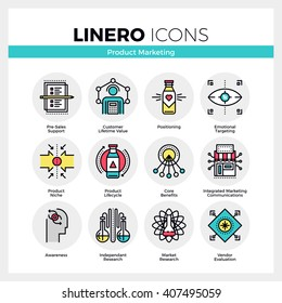 Line icons set of product life cycle, market positioning. Modern color flat design linear pictogram collection. Outline vector concept of mono stroke symbol pack. Premium quality web graphics material