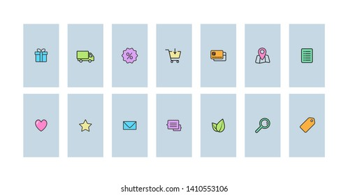 Line icons set for social network insta highlights covers vector template