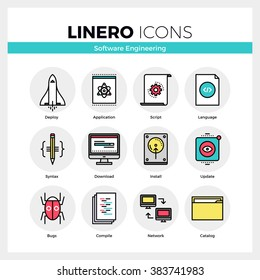 Line icons set of software engineering tools for app debug. Modern color flat design linear pictogram collection. Outline vector concept of stroke symbol pack. Premium quality web graphics material.
