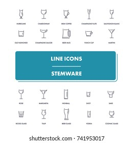 Line icons set. Stemware pack. Vector illustration with glass symbols for cafe and restaurant