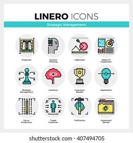 Line icons set of strategic management, long-term success. Modern color flat design linear pictogram collection. Outline vector concept of mono stroke symbol pack Premium quality web graphics material
