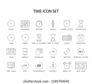 Line icons set. Time pack. Vector illustration