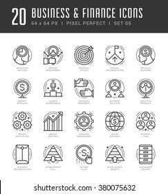 Line icons set. Trendy Modern flat thin linear stroke vector Business and Finance concept. For website graphics, Mobile Apps, Infographics design, Brochures. Outline pictogram pack.