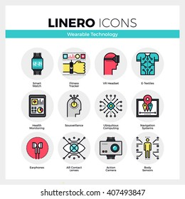 Line icons set of wearable technology, internet of things. Modern color flat design linear pictogram collection. Outline vector concept of mono stroke symbol pack Premium quality web graphics material