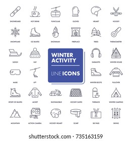Line icons set. Winter activity pack. Vector illustration for activity life, health care and sport in winter time.