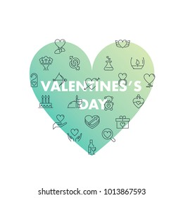 Line icons in shape. Valentine's day pack. Vector illustration for romantic holidays
