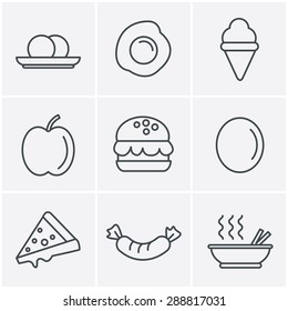 Line Icons Style food icons