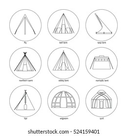 Line icons of tents on white background. Traditional types of tent: bell tent,fly, nomadic tent, sibley tent, tarp tent, tipi, wigwam, yurt, northern sami.