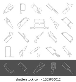 Line icons - Twenty-five different types of hand saws