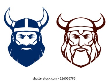 line illustration of an ancient viking warrior, suitable as tattoo or team mascot