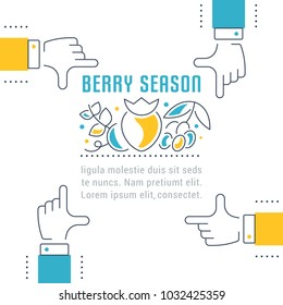 Line illustration of berry season. Concept for web banners and printed materials. Template for website banner and landing page.