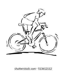 Line illustration of a biker wearing a helmet on a bicycle