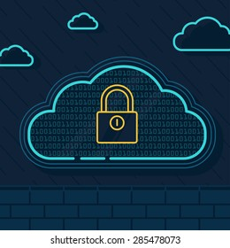 Line Illustration of  Cloud Security with Security Wall and Locker