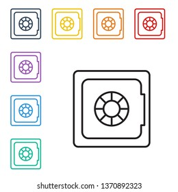 Line illustration of eight color styles Money safe vector icon. Security concept