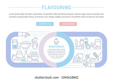 Line illustration of flavouring. Concept for web banners and printed materials. Template with buttons for website banner and landing page.