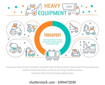 Line illustration of heavy equipment. Concept for web banners and printed materials. Template for website banner and landing page.