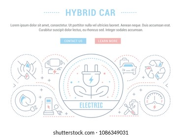 Line illustration of hybrid car. Concept for web banners and printed materials. Template with buttons for website banner and landing page.