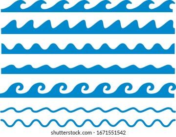 Line illustration image of various waves