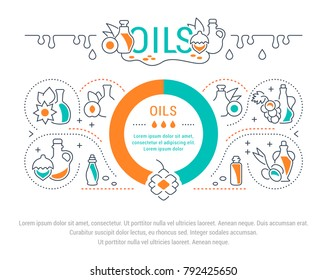 Line illustration of oils. Concept for web banners and printed materials. Template for website banner and landing page.