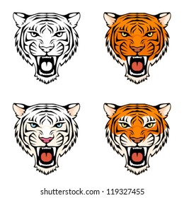 line illustration of a roaring tiger head in various color combinations, suitable as tattoo or sport team mascot